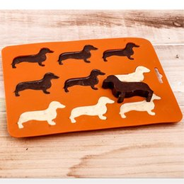 Wholesale Flexible Ice - 9 Cavity - Dachshund Dog Shaped Silicone Ice Cube Tray Flexible Ice Chocolate Candy Mold Ice Maker (Coral Gold)