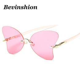 Wholesale Ocean Pearls - New Arrival Rimless Cutting Luxury Pearl Pink Mirror Bowknot Sunglasses Women Brand Designer Sun Glasses Clear Lens Ocean Color