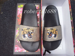 Wholesale Chocolate Sandals - mens fashion thick rubber sole slide sandals slippers with tiger printing leather boys outdoor indoor causal flip flops