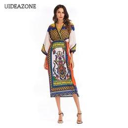 87aa9675f07d33 2019 vestito longue vestito 2018 Ethnic Floral Print Summer Maxi Abiti con  scollo a V Bohemian