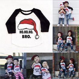 Weihnachten weihnachten säuglingskleidung kinder jungen mädchen casual tops rot santa hut t-shirt kinder kostüm outfit 1-6 t von Fabrikanten