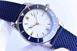 Океанические часы онлайн-2019 Новый стиль Brei Автоматическое движение Super Ocean II Мужские часы Белый циферблат с резинкой Спортивные часы Montre Homme