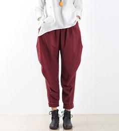 2019 pantaloni fluidi Pantaloni di lino stile cinese 2017 Pantaloni di tendenza nazionale Pantaloni Harem Plus Size Fluid Bloomers Allentati femminili sconti pantaloni fluidi