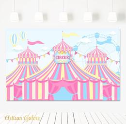 Fondo de tela de vinilo online-carnaval cumpleaños banner pink circus striped foto telón de fondo Vinyl cloth Alta calidad Computer print party background