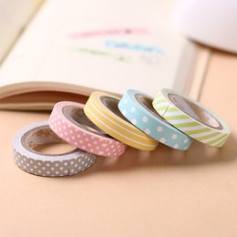 Wholesale Printed Washi Tape - 2018 8mm*5m Candy Color Adhesive Tapes Rainbow Striped Dots Washi Tape DIY Decorative Tape Color Paper Adhesive Tapes