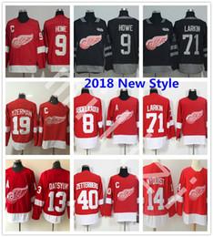 Wholesale Full Wing - 2018 New Style Detroit Red Wings Hockey Dylan Larkin Henrik Zetterberg Justin Abdelkader Gordie Howe Steve Yzerman Jerseys Nyquist Datsyuk