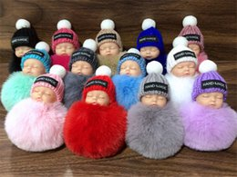Wholesale doll holders - Cute Sleeping Baby Doll Keychain Pompom Rabbit Fur Ball Key Chain Car Keyring Women Key Holder Bag Pendant Charm Accessories