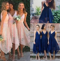 Wholesale Irregular Hem Dresses - Bridesmaid Dresses 2018 New Style Elegant Tea Length Blush Pink Lace Irregular Hem V Neck Maid of Honor Country Wedding Guest Gowns