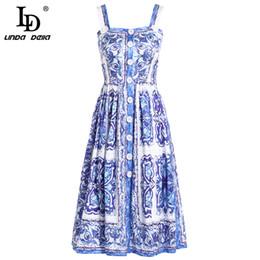 blu linda Sconti LD LINDA DELLA 2018 New Fashion Runway Summer Dress Donna Spaghetti Cinturino Blu e bianco con stampa floreale Abiti casual vestidos