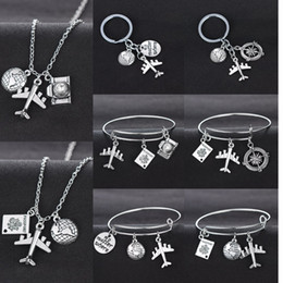 Земляной браслет онлайн-Globe Earth Airplane Keychain Camera Passport Compass Pendant Wanderlust Travelers Necklace Travel Bangle Bracelet Jewelry Gifts