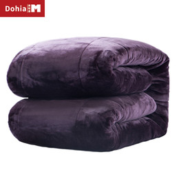 Wholesale Flannel Quilts - Dohiammk Comforter Super Warm Winter Duvet Flannel Fabric Thickened Lamb Velvet Quilt 200x230CM 79x91IN