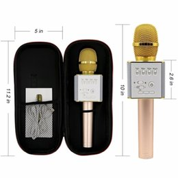 Wholesale mobile phone track - Q7 Q10S Q9 Wireless Karaoke Microphone Bluetooth Speaker Track Dimensional Sound Voice Change Smartphone Karaoke Microphone