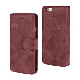 Iphone folding kickstand en Ligne-Etui portefeuille pliable en cuir PU Housse en cuir pour Apple iPhone 5,6,7,8 avec fentes pour cartes et béquille