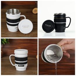 Wholesale camera coffee - Camera Lens Coffee Mug With Handle 220ML Stainless Steel Travel Lens Vacuum Cup Milk Beer Tea Cup 2 Colors LJJO4590