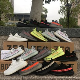 Wholesale Tinted Pvc - 2018 Blue Tint Boost 350 V2 Semi Frozen Yellow Beluga 2.0 Zebra Cream White Sply 350 Boost Kanye West Running Shoes Sneakers