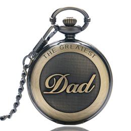 Argentina Regalo del día del padre Super DAD Collar Reloj de bolsillo Bronce FOB Cuarzo 30CM 80CM Colgante de cadena Mens Relojes Recuerdo Regalos para hombres Padre del papá Suministro