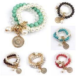 Wholesale loom bracelets charms - Charm Bracelets Fine Jewelry For Women Special Loom Band Unique 2016 Most Popular Design Imitation Turquoise Fashion Multilayer Bracelet