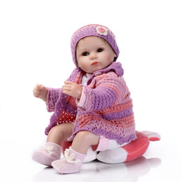 Wholesale Vinyl 12 Inch - Wholesale 17 Inches Lifelike Silkworm Reborn Baby Soft Silicone Vinyl Real Touch Doll Lovely Newborn Baby Rabbit Clothes Free Shipping