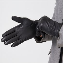 4fb58803d5ae4 Humusan men leather gloves winter thick warm black classic leather gloves  waterproof non-slip sheep genuine mittens