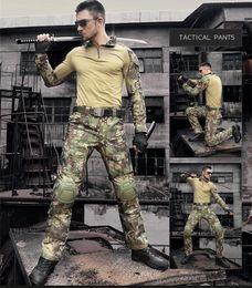 multicam uniformen Rabatt Jagd Combat Uniform Anzug Multicam Army Shirt Hosen mit Ellenbogen Knieschützer Für Paintball Woodland Wargame