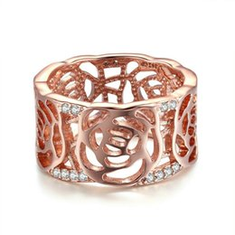 Wholesale Jewelry Setting Types - Ring female type hollowed rose gold electroplated circular zircon cheap jewelry free shipping