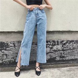 Wholesale High Waist Bootcut Legging - 2018 New Vintage Side Split Women Jeans Pockets Easy Female Wide Leg Pants Jeans Women Long Trousers High Waist Cowboy