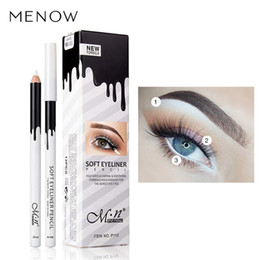 Wholesale white eyeliner waterproof - Eye Liner Color Cheap Makeup High Quality Menow Brand Long Lasting Pigment Waterproof White Eyeliner Pencil Lot