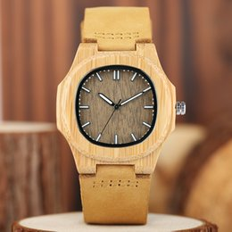 Wholesale Bamboo Band - Nature Bamboo Wrist Watch Wooden Quartz Analog Handmade Lightweight Wood Watch Square Dial Casual Genuine Leather Band Dress Male Female