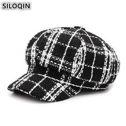 527623bf7d3 SILOQIN Women s Hat British Trend Retro Newsboy Caps For Women Gorras Mujer  Elegant Female Beret Autumn Winter Plaid Flat Cap