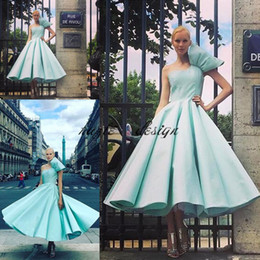 Wholesale mint beaded one shoulder dress - Matte Stain Tea-length Prom Dresses with Big Bow 2018 Csiriano Cinderella One-shoulder Evening Homecoming Party Gown Wear Mint Green