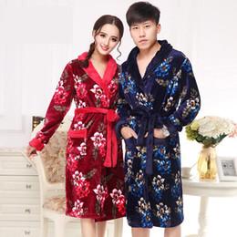 bata gruesa de hombre Rebajas Los amantes de la túnica larga de franela de invierno Kimono Albornoz Imprimir ropa de dormir gruesas mujeres calientes hombres en casa vestido de noche informal vestido