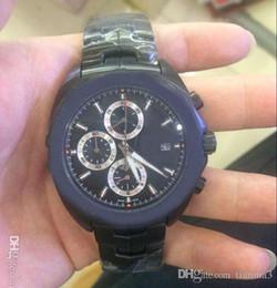 Calibre de quartzo original on-line-Novos relógios de luxo calibre novo limitada de quartzo cronógrafo dos homens relógios originais fivela pulseira de esportes dos homens relógios tudo preto