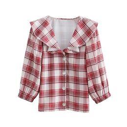 409aa11a9 2018 Summer Sweet Vintage Preppy Style Blusas de las mujeres Suelta Plaid  Girls Red Travel School Tops Mujer con volantes de cuello camisa de algodón  ...