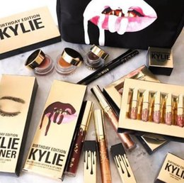 Wholesale Light Pink Lip Gloss - makeup Gold Kylie Jenner Birthday Holiday Edition Lip Kit Matte Liquid Lipsticks Lipstick Lip Kit Lip Gloss Cosmetics Set Lipgloss 6pcs set