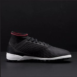 Wholesale Li Ning Shoes - 2018 Soccer Shoes black high ankle Predator Playboy Football boots Tango TF football Shoes 18.3 MD High Quality Soccer Cleats
