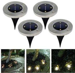 Wholesale solar led camp lights - 4 led Outdoor Disk Lights Solar Disk Lights Solar Powered Outdoor Portable Lanterns Hiking camping Garden Stair Lights KKA4494