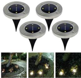 Wholesale lit lanterns - 4 led Outdoor Disk Lights Solar Disk Lights Solar Powered Outdoor Portable Lanterns Hiking camping Garden Stair Lights KKA4494