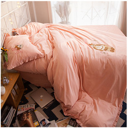 Wholesale Baby Bedding Comforters - New fashion lovely bear baby washed cotton 4 pieces bedding sets quilt comforter blanket duvet cover bed sheet pillowcases hot sale 6165