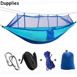 Wholesale Indoor Parachute Hammock - Dupplies Handy Hammock Single Person Portable Parachute Fabric Mosquito Net Hammock Indoor Outdoor Camping Using