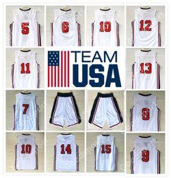 Wholesale Basketball Barkley - 1992 USA Dream Team Jersey 5 Robinson 6 Ewing 7 Bird 8 Pippen 10 Drexler 11 Malone 12 STOCKTON 14 BARKLEY 15 JOHNSON MJ WHITE