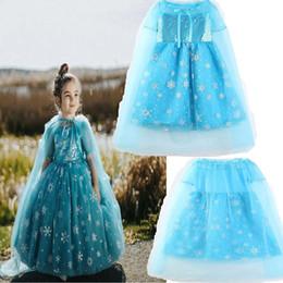 robe de mode cape Promotion Robe de princesse fille 2018 Nouveaux enfants mode dentelle flocon de neige paillettes robe à manches courtes + cape bébé vêtements B