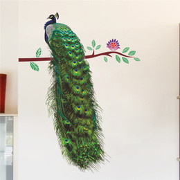 Autocollants de paon en Ligne-Animaux Paon Sur Branche Plumes Stickers Muraux 3d Vivid Stickers Muraux Décor À La Maison Art Decal Affiche Animaux Salon Décor