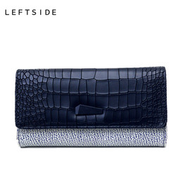 Wholesale Womens Blue Wallet - Wholesale- LEFTSIDE 2017 womens wallets and purses Serpentine PU leather long design purse credit card holder bags clutch party