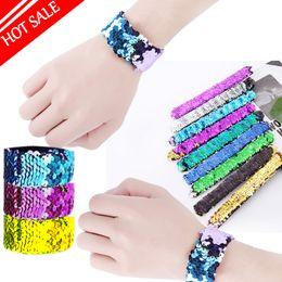 Hot Girl Slap Bracelets Mermaid Lentejuelas Muñequera Doble Colores Glitter Slap Pulsera Kids Party favores 21 diseños opcionales desde fabricantes