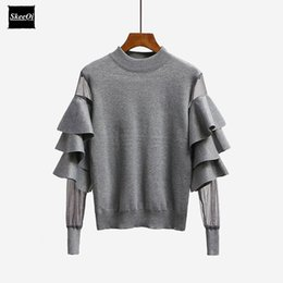 Wholesale Black Sweater Ruffle - 2018 New Autumn Runway Designer Women Sweater Pullover Tops Ruffle Mesh Sheer Knitted Patchwork Basic Knitted Sweaters Pullovers