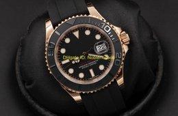 Banda de reloj 18k online-De lujo de calidad superior del reloj de los hombres 18K Everose Gold 40mm 116655 Negro Dial Bandas de goma pulsera Asia 2813 Relojes automáticos para hombre