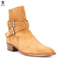 Nuovi stivali da uomo caldi Stivali tacco basso quadrato vera pelle scamosciata doppia fibbia scarpe con cinturino uomo misura 38-46 da