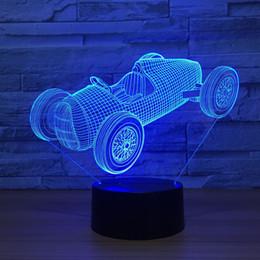 2019 baterías de carreras Racing Car 3D Ilusión óptica Lámpara de noche Luz DC 5V USB Powered AA Battery Dropshipping Shippin al por mayor rebajas baterías de carreras