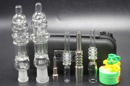 Wholesale Nail Clips - 1pcs mini Nectar Collector kit with titanium or quartz nail clip wax tool silicon jar ego zipper case glass water bongs smoking pipes