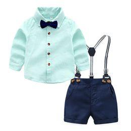 Top e Top de Verão Da Criança Do Bebê Meninos Conjuntos de Roupas de Manga  Curta Camisa Gravata + Suspensórios Shorts Calças Ternos Gentleman Formal b2de3863582